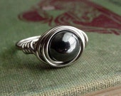 Custom Handmade Hematite Wire Wrapped Ring - choose your size and wire