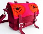 Bike Bag - Marimekko - Messenger Bag - Maroon Burgundy Red Pink