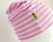 Marimekko Cotton Knit Hat - Babies - Girls - Pink White Stripes