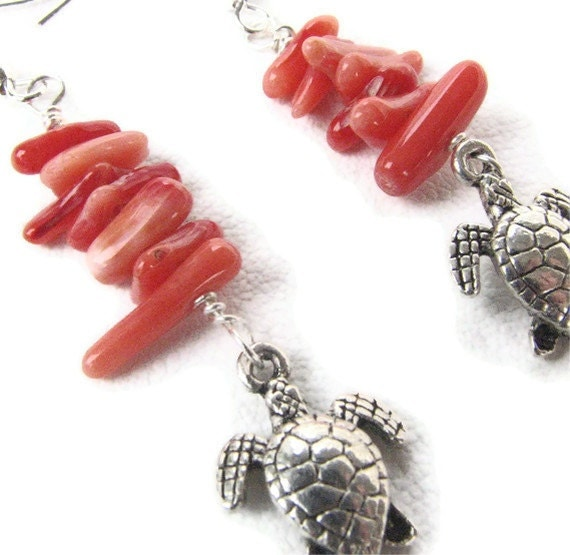 Coral Hawaiian Sea Turtle Jewelry - Ocean Earrings