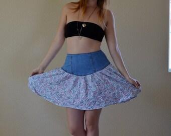 1990s SML/MED denim and floral skirt