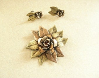 Stunning Antique Artist Designed Sterling Copper and Brass Ornate Rose Pin & Earring Set