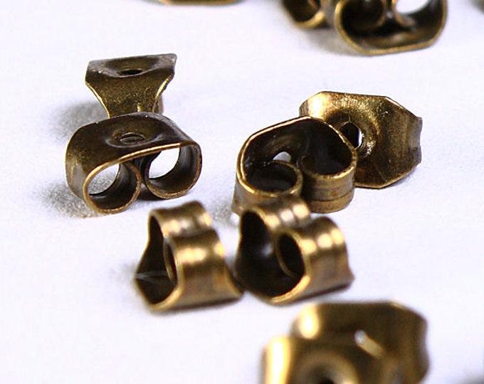 Antique brass earring back stopper - earring stoppers  - butterfly earnuts - nickel free lead free - 5mm x 4mm (883) - Flat rate shipping