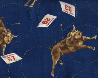 Fat Quarter, 1768 Bull Fabric, Cowboy Fabric, Horse Fabric, Rodeo Fabric, Bucking Bull Fabric