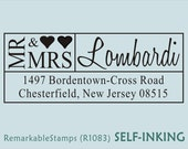 Custom Address Stamp - Mr and Mrs Names with Heart  - Etsy Design (R1083) Self-inking Just Married Wedding Gift