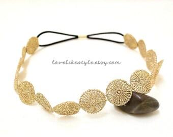 Metallic Small Doily Gold Lace Elastic Headband, Bridal Headband , Bridesmaid Headband