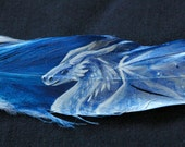 Silver Dragon Original Feather Painting