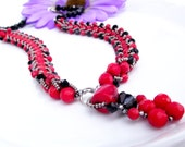 Red and Black Necklace, Coral, Crystal ,Beadweaving,Handmade, ONE Of A  KIND, Mothers, Women by Lyrisgems