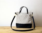 SALE! Ready to ship - Polka Dot Over Shoulder Cross Body Bag Screen Printed Linen Black Leather Handles