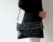 Fold Over Cross Body Bag with Removable Strap Polka Dots