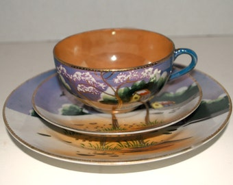 Vintage China trio Takitio lusterware 3 piece set cup saucer and dessert plate vintage china