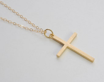 Solid 14K Gold large Cross Pendant - NO CHAIN
