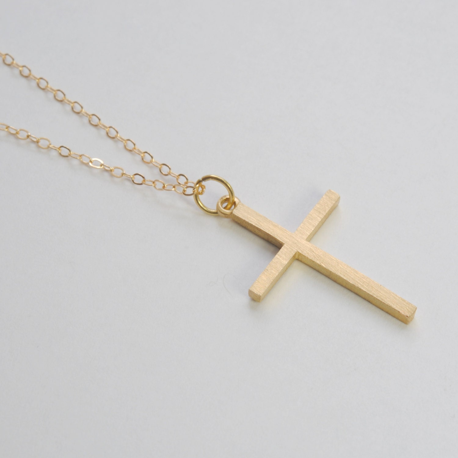 solid 14k gold large cross pendant by shopeliandleah on etsy