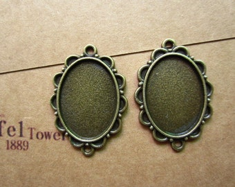 10pcs 25x18mm antique bronze cabochon pendant settings R26821