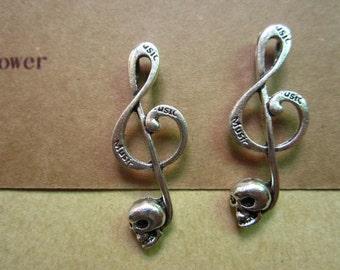 10pcs 41x15mm antique silver skull charms pendant C5315