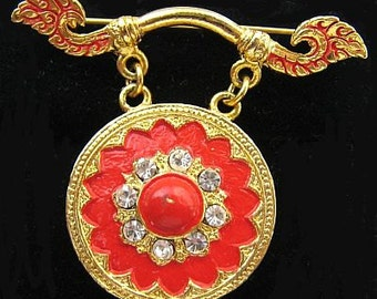"Frierich Brooch Pin Rhinestones Red Enamel Circular Design Asian Inspired 1 3/4"" Vintage"