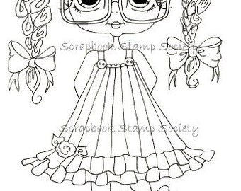 INSTANT DOWNLOAD  Digital Digi Stamps Big Eye Big Head Dolls Digi Two Clever Chole By Sherri Baldy