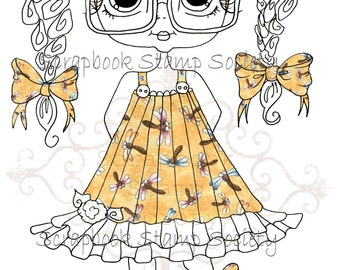 INSTANT DOWNLOAD Digital Digi Stamps Big Eye Big Head Dolls Digi  My Besties Clever Chole Dragonfly Dress Pre Colored Digi  By Sherri Baldy