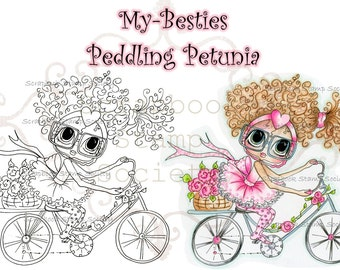 INSTANT DOWNLAOD Digital Digi Stamps Big Eye Big Head Dolls Digi Peddling Petunia  By Sherri Baldy