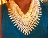 Vintage faux pearl bib necklace