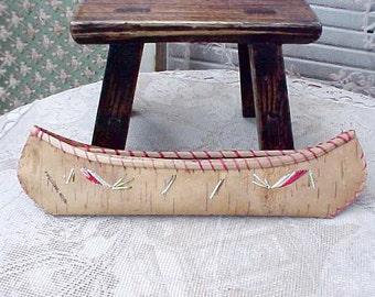 Darling Little Vintage Birch Bark Native American Style Canoe Souvenir of Pipestone, Minnesota