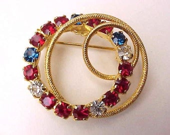 Lovely Vintage Patriotic Circle Brooch of Red, White and Blue Rhinestones