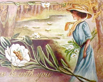 "Charming 1910 Era Postcard with Gibson Girl and Waterlilies-""Peace Be With You"""