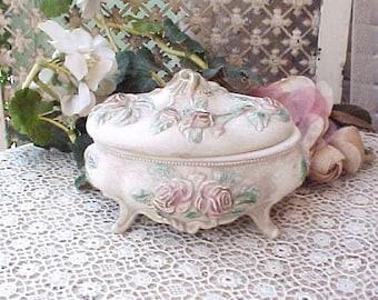 Charming Vintage Ceramic Trinket Box with Pink Roses
