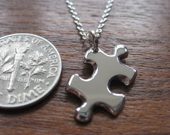 Miniature Puzzle with two initials Necklace Pendant