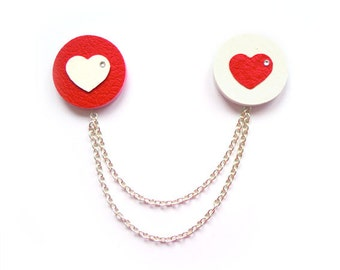 MINIMALISTIC HEART double BROOCH for St. Valentine's Day