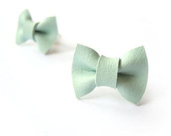 pastel green MINT BOW EARRINGS