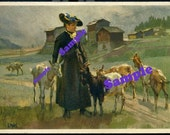 Instant Digital Download-Swiss Girl with Goats-Art Postcard  by Hodel