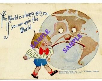 Digital Download-Agin the World Vintage Postcard