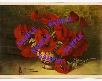 Digital Download-Still Life With Poppies-Vintage Art Postcard