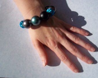 Funky Glam Giant Pearl Bead Knotted Mesh Wire Bracelet-AWESOME One Of A Kind!