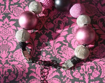 Funky Glam Giant Pearl Bead Metal Mesh Bead Bracelet-Stunning And ON SALE!
