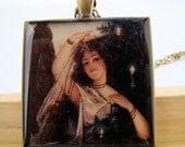 Resin Pendant, Christmas Angel, Black, White, Glitter, Christmas, 1.5 inch, Square, For Her