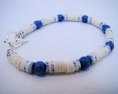 Bracelet, Blue and White Heisi Beads