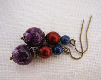 Earring, Dangle, Red, Purple and Blue, Dangle, Bronze, For Her