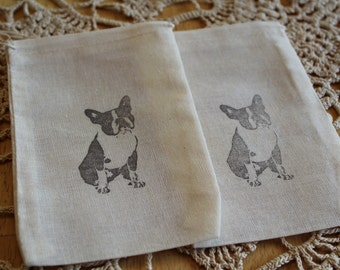 Set of 10 Hand Stamped Boston Terrier Bag Muslin Party Favor Bags 100% organic made in america