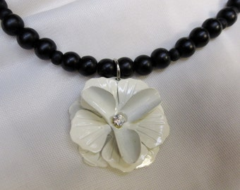 Very Classy White Flower Pendant on all Black Beaded 16 Inch Choker Necklace with Sturdy Magnetic Clasp