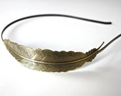Antique Bronze Hair Band With Filigree Feather - 150x130mm - 130305