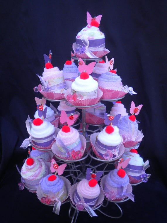 Items similar to baby shower washcloth cupcake favors 24 - Butterfly themed baby shower favors ...