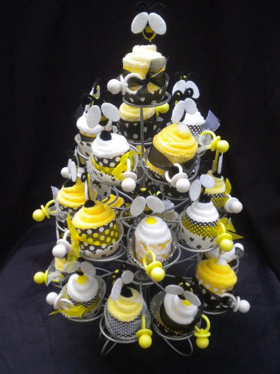 baby shower favors washcloth cup cakes 24 pieces bumble bee cute as can bee