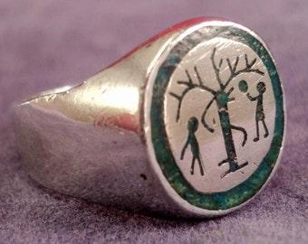 RARE HOPI KACHINA Ring Sterling Size 9.5