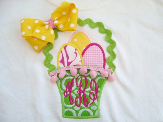 Girl Easter Tee Shirt with Easter Basket and Colorful Easter Eggs