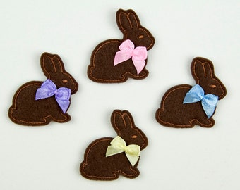 BUNNY - Embroidered Felt Embellishments / Appliques - Chocolate  (Qnty of 4) SCF1005