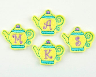 TEAPOT MONOGRAM with Curlz  - Embroidered Felt Embellishments / Appliques - Yellow, Turquoise and Lavender (Qnty of 4) SCF5140