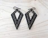 Dagger Lasercut Leather Earrings - Black