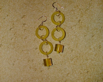 Pierced Earrings Sunshine Yellow Frosted Acrylic Ring Dangles